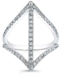 Anne Sisteron - 18kt White Gold Diamond Spear Ring - Lyst