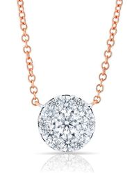 Anne Sisteron - 14kt Rose Gold Diamond Round Pendant Laurie Necklace - Lyst
