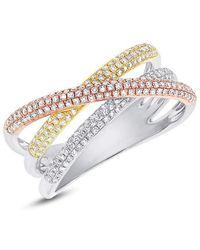 Anne Sisteron 14kt Three Tone Gold Diamond Wire Ring - Metallic