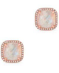 Anne Sisteron - 14kt Rose Gold Moonstone Diamond Square Stud Earrings - Lyst