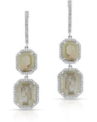 Anne Sisteron - 14kt White Gold Raw Diamond Luxe Divine Earrings - Lyst