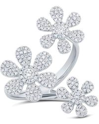 Anne Sisteron - 14kt White Gold Diamond Floating Triple Daisy Flower Ring - Lyst