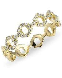 Anne Sisteron - 14kt Yellow Gold Diamond Lock Ring - Lyst