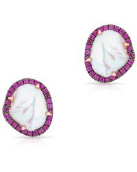 Anne Sisteron - 14kt Rose Gold Pink Sapphire And Pearl Earrings - Lyst