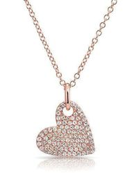 Anne Sisteron - 14kt Rose Gold Hanging Heart Diamond Necklace - Lyst