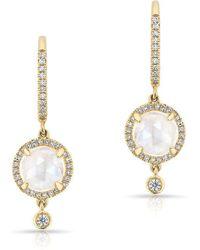 Anne Sisteron - 14kt Yellow Gold Diamond Moonstone Kennedy Wireback Earrings - Lyst