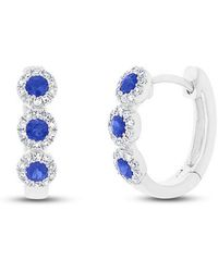 Anne Sisteron - 14kt White Gold Sapphire Diamond Mila Huggie Earrings - Lyst
