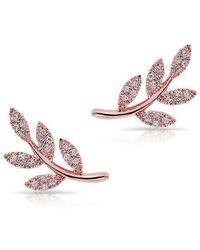 Anne Sisteron - 14kt Rose Gold Diamond Leaf Stud Earrings - Lyst