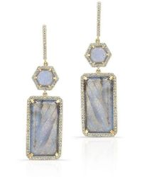 Anne Sisteron | 14kt Yellow Gold Labradorite Diamond Geometric Earrings | Lyst