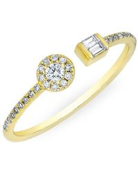 Anne Sisteron - 14kt Yellow Gold Diamond Baguette And Disc Naima Ring - Lyst