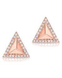 Anne Sisteron - 14kt Rose Gold Diamond Triangle Pyramid Stud Earrings - Lyst