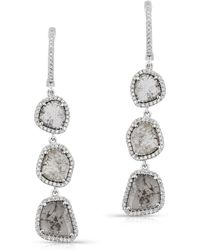 Anne Sisteron - 14kt White Gold Triple Diamond Slice Earrings - Lyst