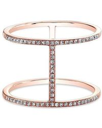 Anne Sisteron - 14kt Rose Gold Diamond H Trois Ring - Lyst