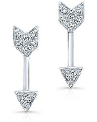 Anne Sisteron - 14kt White Gold Diamond Mini Arrow Stud Earrings - Lyst