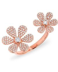 Anne Sisteron - 14kt Rose Gold Diamond Floating Double Daisy Flower Ring - Lyst