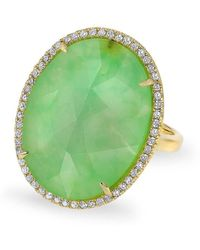Anne Sisteron - 14kt Yellow Gold Chrysoprase Diamond Oval Cocktail Ring - Lyst