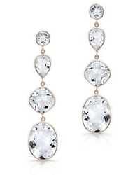 Anne Sisteron - 14kt Rose Gold White Topaz Quadruple Drop Earrings - Lyst