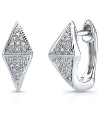 Anne Sisteron - 14kt White Gold Diamond Double Triangle Huggie Earrings - Lyst