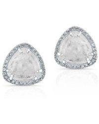 Anne Sisteron - 14kt White Gold Diamond Moonstone Stud Earrings - Lyst