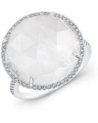Anne Sisteron - 14kt White Gold Moonstone Diamond Round Cocktail Ring - Lyst