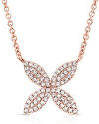 Anne Sisteron - 14kt Rose Gold Diamond Flower Necklace - Lyst
