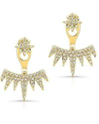 Anne Sisteron - 14kt Yellow Gold Diamond Spiked Tiara Floating Earrings - Lyst