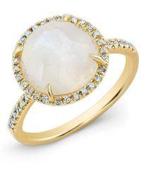 Anne Sisteron - 14kt Yellow Gold Rainbow Moonstone Diamond Cocktail Ring - Lyst
