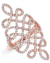 Anne Sisteron - 14kt Rose Gold Diamond Woven Lace Ring - Lyst