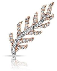 Anne Sisteron 14kt Rose And White Gold Diamond Leaf Ear Climber - Multicolor