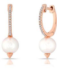 Anne Sisteron - 14kt Rose Gold Diamond Spiked Pearl Moriah Huggie Earrings - Lyst