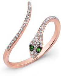 Anne Sisteron - 14kt Rose Gold Diamond Slytherin Ring With Emerald Eyes - Lyst