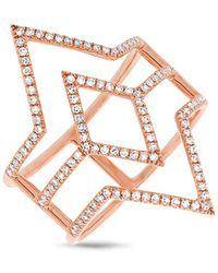 Anne Sisteron - 14kt Rose Gold Diamond Open Double Spear Ring - Lyst