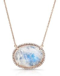 Anne Sisteron - 14kt Rose Gold Diamond Oval Moonstone Necklace - Lyst
