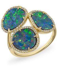 Anne Sisteron - 14kt Yellow Gold Opal Diamond Trinity Ring - Lyst