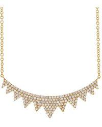 Anne Sisteron - 14kt Yellow Gold Diamond Elizabeth Crown Necklace - Lyst