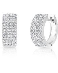 Anne Sisteron - 14kt White Gold Diamond Pave Kiara Huggie Earrings - Lyst