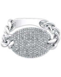 Anne Sisteron - 14kt White Gold Diamond Bean Ring - Lyst
