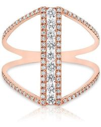 Anne Sisteron | 14kt Rose Gold Diamond Luxe H Ring | Lyst