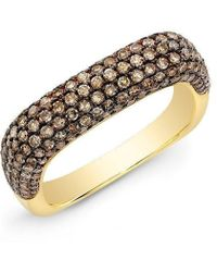 Anne Sisteron - 14kt Yellow Gold Champagne Diamond Square Ring - Lyst