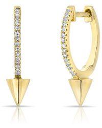 Anne Sisteron - 14kt Yellow Gold Diamond Spike Nia Huggie Earrings - Lyst