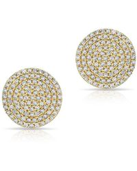 Anne Sisteron | 14kt Yellow Gold Diamond Luxe Disc Stud Earrings | Lyst
