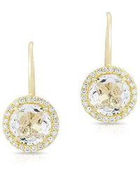 Anne Sisteron - 14kt Yellow Gold Round White Topaz Diamond Earrings - Lyst