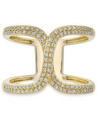 Anne Sisteron - 14kt Yellow Gold Diamond Double Horseshoe Ring - Lyst