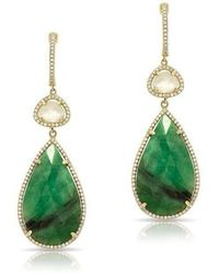 Anne Sisteron - 14kt Yellow Gold Emerald And White Sapphire Diamond Drop Earrings - Lyst