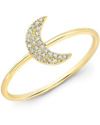 Anne Sisteron - 14kt Yellow Gold Diamond Moon Ring - Lyst