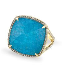 Anne Sisteron - 14kt Yellow Gold Apatite Diamond Cushion Cut Cocktail Ring - Lyst