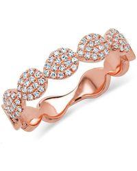 Anne Sisteron - 14kt Rose Gold Corona Half Diamond Ring - Lyst