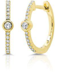 Anne Sisteron - 14kt Yellow Gold Diamond And Bezel Huggie Earrings - Lyst