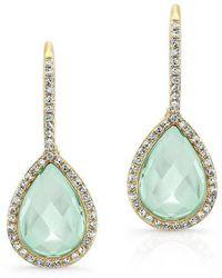 Anne Sisteron - 14kt Yellow Gold Green Amethyst Diamond Rosecut Earrings - Lyst