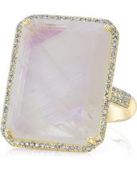Anne Sisteron - 14kt Yellow Gold Moonstone Diamond Rectangle Cocktail Ring - Lyst